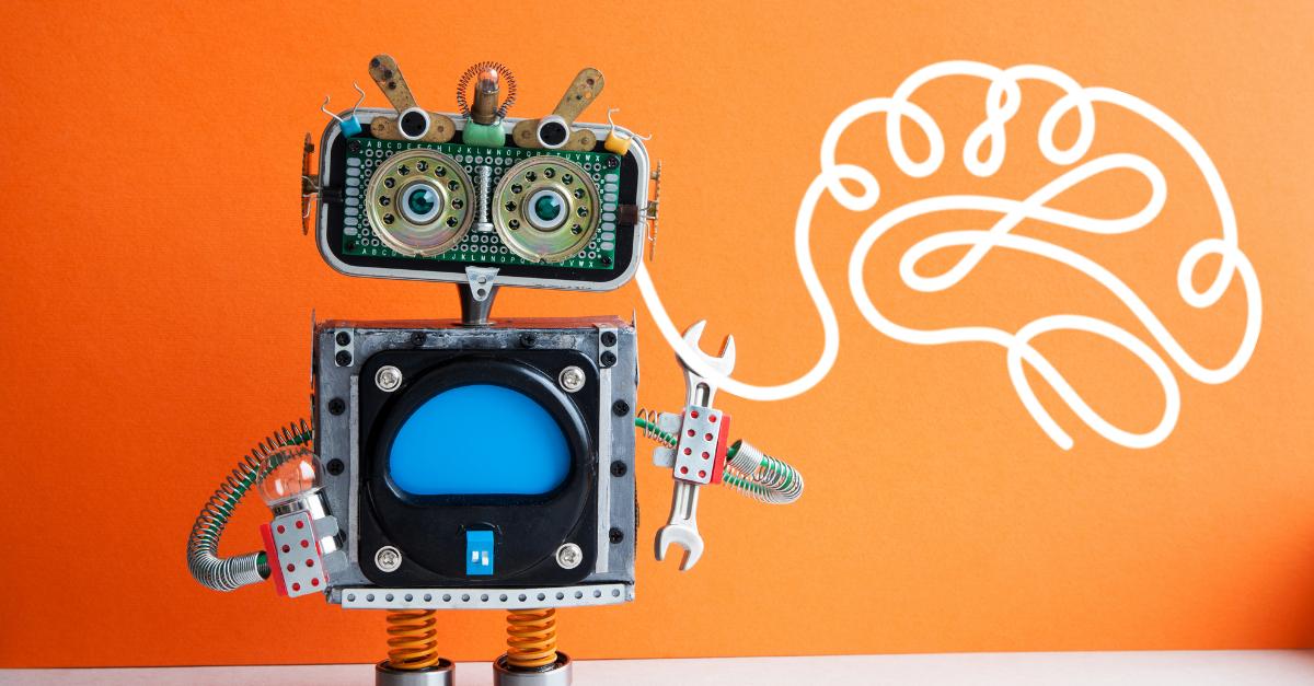 Toy robot with Bright brain branding illustration